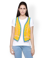Globus Women Yellow Embroidered Waistcoat