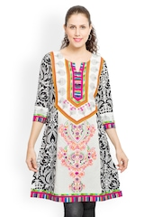Globus Women Black & White Printed Kurti