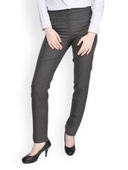 Women Charcoal Grey Formal Trousers Globus
