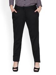 Women Black Slim Fit Formal Trousers Globus