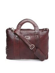 Gloss Italy Men Brown Leather Messenger Bag