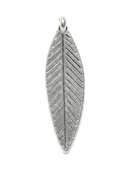 Golden Peacock Unisex Silver Plated Leaf Shaped Pendant