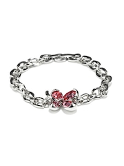 Golden Peacock Silver & Red Flower Bracelet