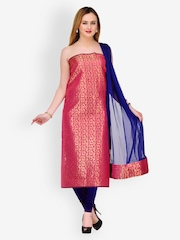 Gopeeka Pink & Blue Embroidered Silk Blend Unstitched Dress Material