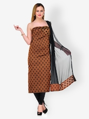 Gopeeka Brown & Black Embroidered Silk Blend Unstitched Dress Material