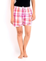 Gossip Women Pink & Orange Checked Lounge Shorts Gossip myntra 14