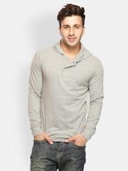 Gritstones Men Grey Melange Hooded T-shirt