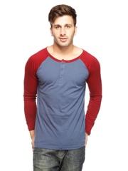 Gritstones Men Steel Blue & Red T-shirt