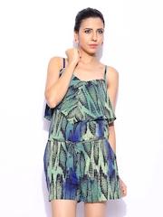 GUESS Women Blue & Green Printed Silk Playsuit