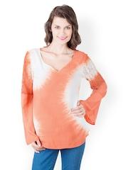 Gypsy Soul Women Orange & White Tie-Dye Top