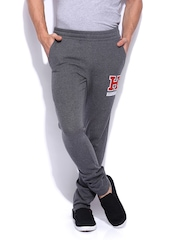 HARVARD Men Charcoal Grey & Red Slim Fit Joggers Track Pants