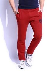 HARVARD Men Cranberry Red Slim Fit Signature Logo Track Pants