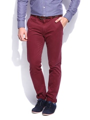 HARVARD Men Dark Maroon Slim Fit Washed Twill Campus Chinos Trousers