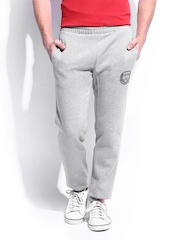 HARVARD Men Grey Melange Slim Fit Signature Logo Track Pants