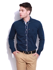 HARVARD Men Navy Micro Corded University Slim Fit Casual Shirt