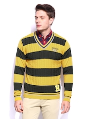 HARVARD Men Yellow & Olive Green Rugby Slim Fit Striped Pullover Sweater