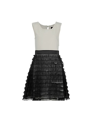 HERBERTO Girls White and Black Fit and Flare Dress