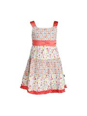 HERBERTO Girls Multi-Coloured Printed A-Line Dress