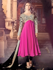 HEROINE Rani Pink and Black Unstitched Dress Material