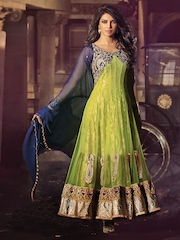 HEROINE Green Embroidered Unstitched Dress Material
