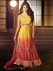 HEROINE Yellow and Red Unstitched Dress Material