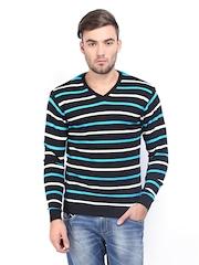 HIGHLANDER Men Black & Blue Striped Sweater