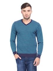 HIGHLANDER Men Blue Striped Sweater