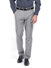 HIGHLANDER Men Grey Melange Slim Fit Linen Blend Formal Trousers