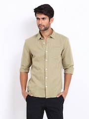 Highlander Men Khaki Linen Blend Casual Shirt
