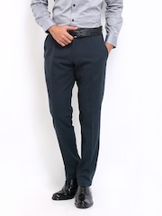 Highlander Men Navy Slim Fit Formal Trousers