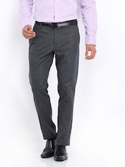 Highlander Men Charcoal Grey Slim Fit Trousers