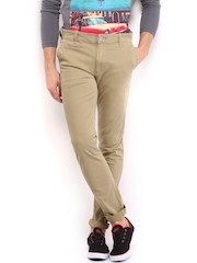 HRX Men Beige Basic Chino Trousers