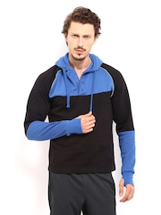 HRX Men Black & Blue Active Hooded Sweatshirt