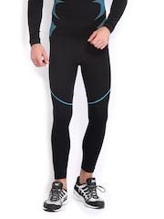 HRX Men Sports Active Aqua/Black Performance Compression Tights