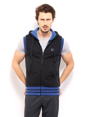 HRX Men Black Active Hooded Sleeveless Sweatshirt