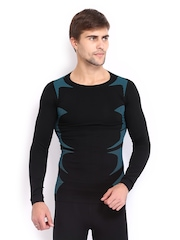 HRX Men Black & Blue Active Printed Compression T-shirt