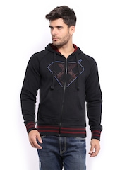 HRX Men Sports Active Black Zipped Hooded Walker Sweatshirt