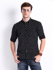 HRX Men Black Printed Slim Fit Casual Shirt