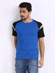HRX Men Sports Active Blue & Black T-shirt