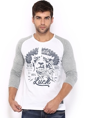 HRX Men White & Blue Printed Henley T-shirt