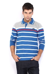 HRX Men Blue Striped Polo T-shirt