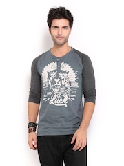 HRX Men Grey Printed Henley T-shirt
