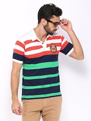 HRX Men Coral Red & Navy Polo T-shirt
