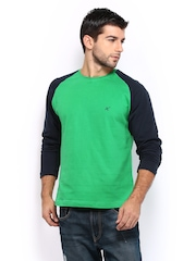 HRX Men Green & Navy T-shirt