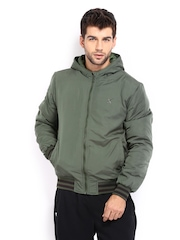 HRX Men Olive Green Active Hooded Padded Jacket