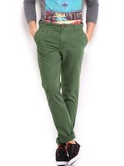 HRX Men Green Basic Chino Trousers