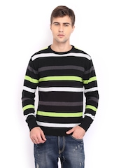 HRX Men Grey & Black Striped Sweater