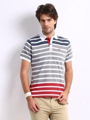 HRX Men Grey & White Striped Polo T-shirt