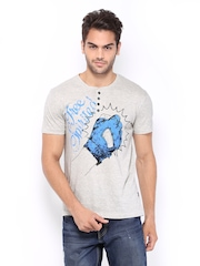 HRX Men Grey Melange Printed Henley T-shirt