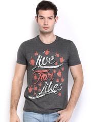 myntra  Men Grey Melange Printed T-shirt